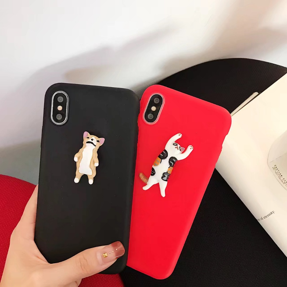 Cute Cat Dog Fashion 3D Phone Case For iPhone7Plus Back Case For iPhone 6 6S 7 Plus Soft TPU cartoon dog case for Apple IphoneX