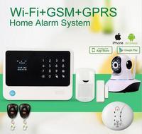 G90B плюс WI FI GSM сигнализация сенсорной клавиатурой IOS Android APP контролируемых дома secure аварийная система с IP камеры/дыма