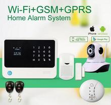 WIFI GSM alarm system with GPRS Touch keypad IOS Android APP controlled Home secure Alarm System with IP camera