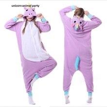 polar fleece animals Adult Purple Unicorn Onesie Cosplay Costume Pajamas Sleepwear For Women Men