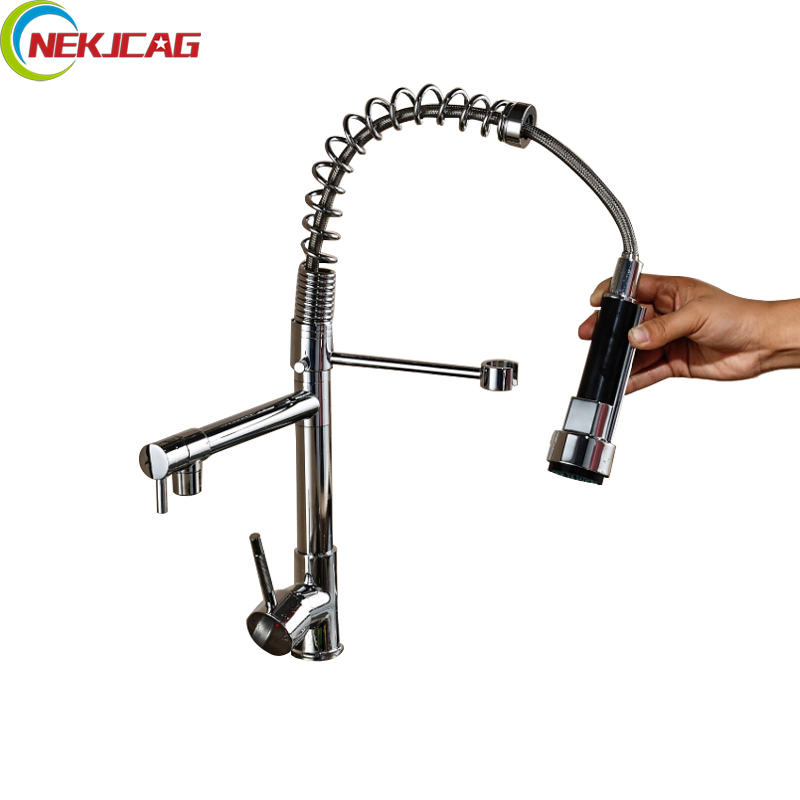 Free Shipping Promotion Sprayer Kitchen Mixer Faucet Double Spout Deck Mount Kitchen Faucet Tap Chrome Finish free shipping high quality chrome brass kitchen faucet single handle sink mixer tap pull put sprayer swivel spout faucet