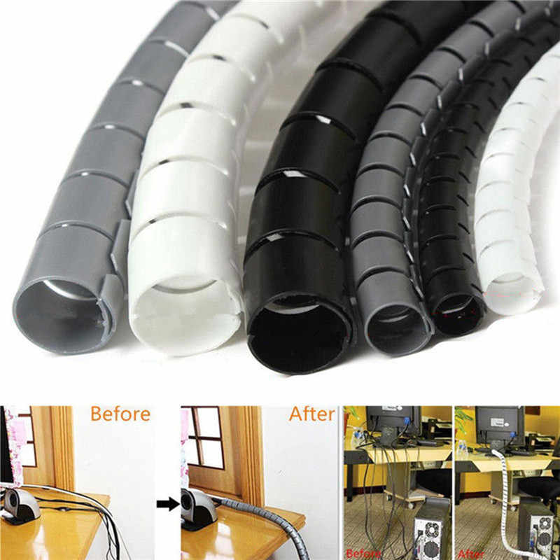 for PC TV 1m 8/10/25mm Cable Banding Loom Storage Organizer Spiral Wrap Tidy Cord Wire