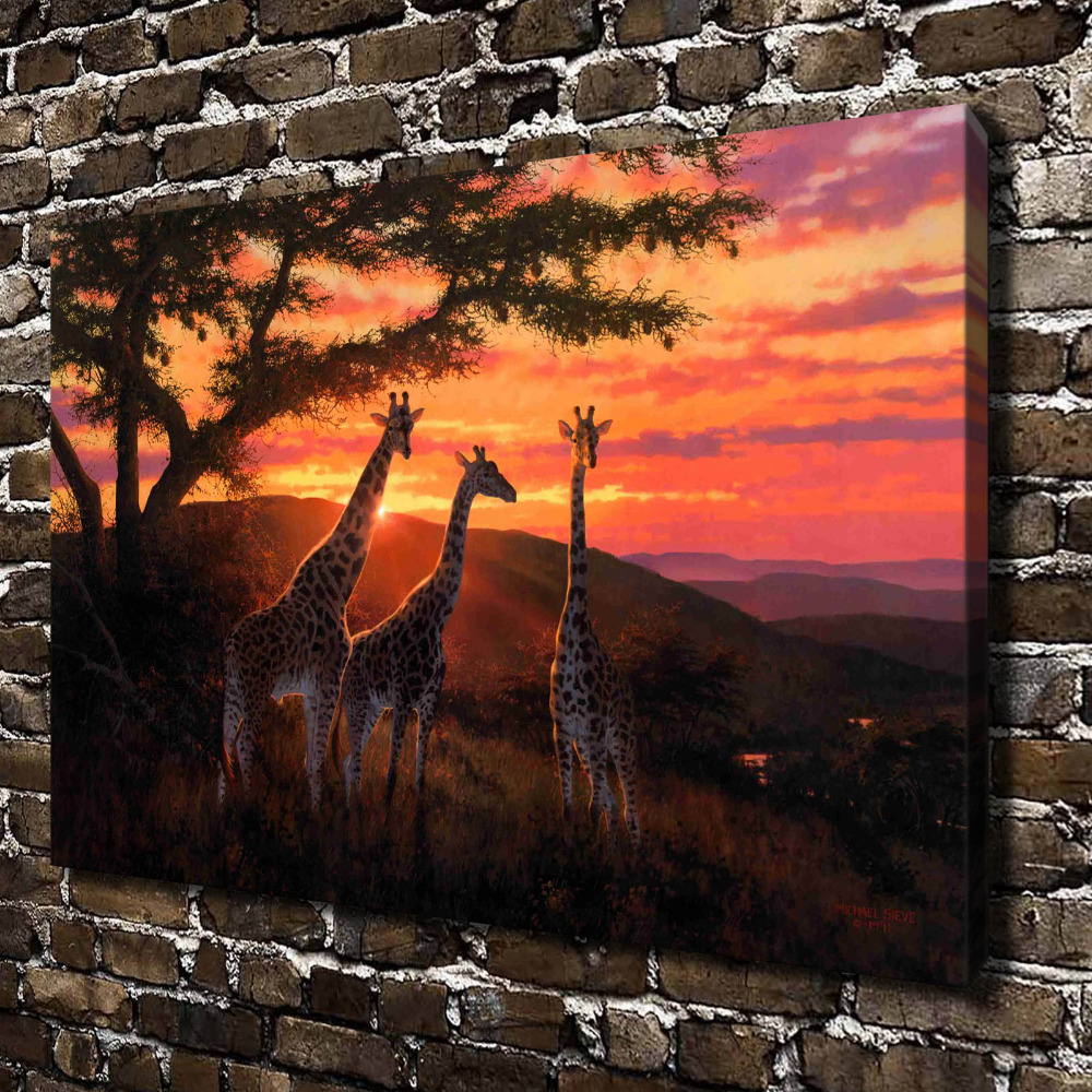 A0705 Natural Scenery Animal Giraffe Sunset Glow. HD Canvas Print Home  Decoration Living Room Bedroom Wall Pictures Art Painting In Painting U0026  Calligraphy ...