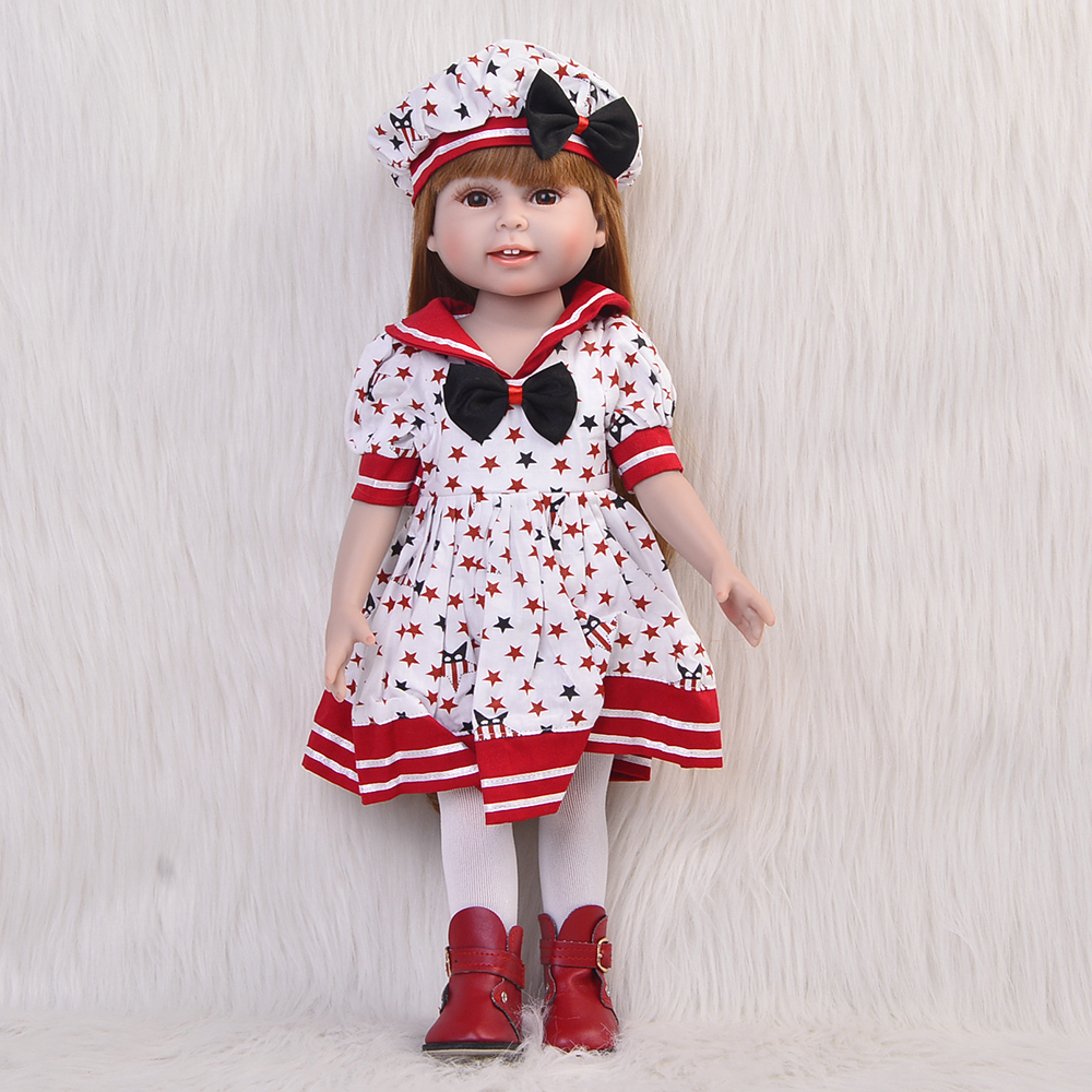 Fashion 18 Inch Toys Doll Full Vinyl Reborn Baby Doll Realistic Handmade American Girl Birthday Gifts Babies Dolls For Kids american girl doll clothes for 18 inch dolls beautiful toy dresses outfit set fashion dolls clothes doll accessories