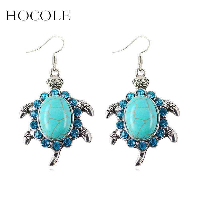 New Fashion Tibetant Silver Earring Vintage Animals Turtle Crystal Natural Turquoise Stone Drop Earrings Jewelry for Women Gifts