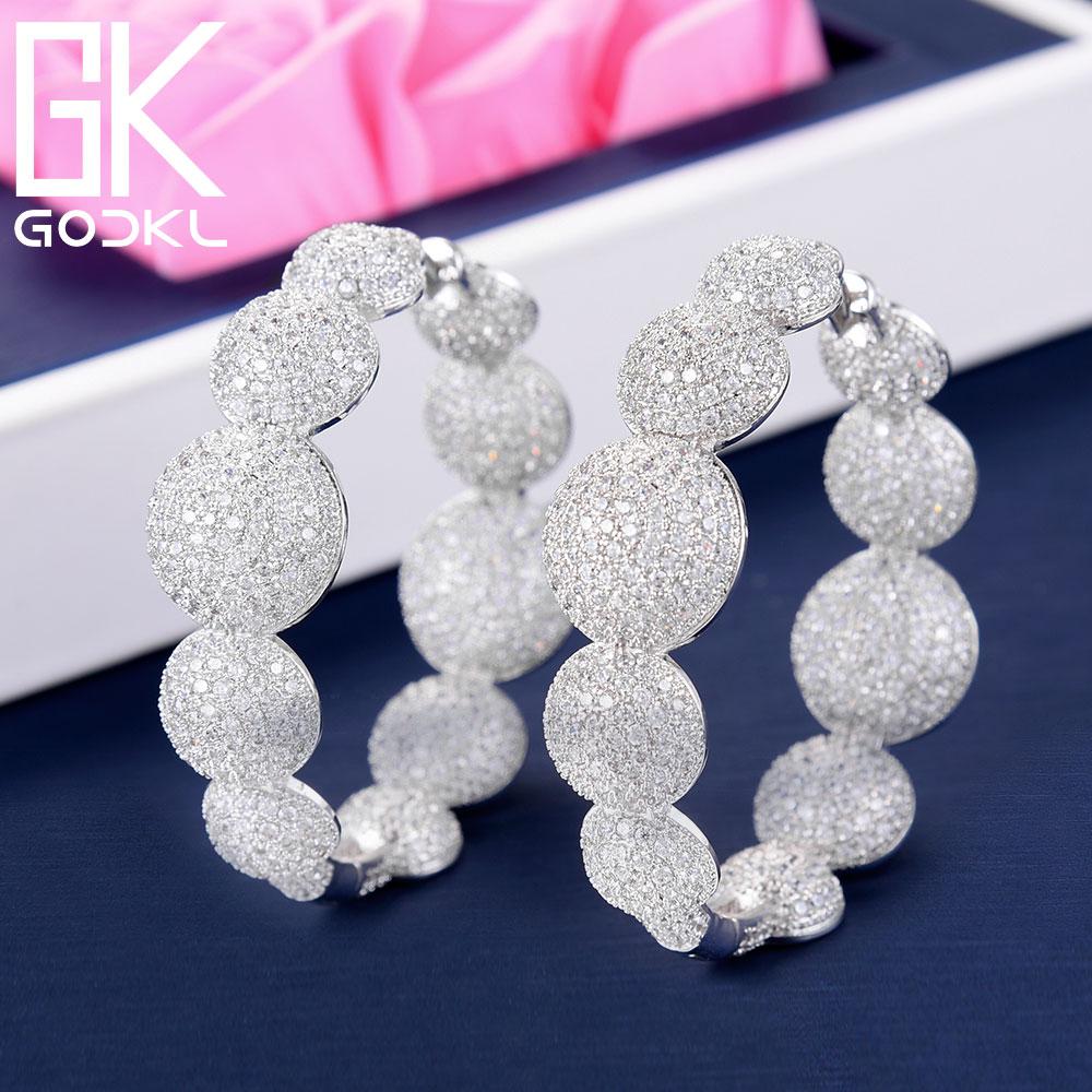 GODKI Luxury Bubble Ball Cubic Zirconia Statement Hoop Earrings For Women Wedding DUBAI Big Earrings Jewelry
