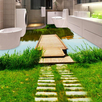 Custom 3D Floor Wallpaper 3D Nature Landscape Carps Pool Wall Mural Bathroom PVC Waterproof Self Adhesive
