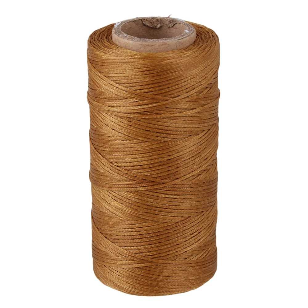 Polyester 210D Leather Sewing Flat Waxed Thread Cord for DIY Handicraft Beige