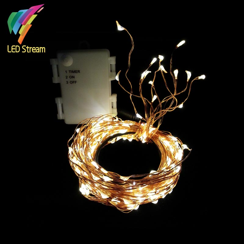High Quality 224 LEDs Rattan Decoration String Lights 3AA Battery Outdoor  Waterproof Copper Wire Timer String Fairy Light