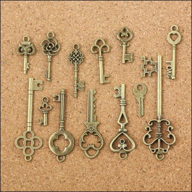 Wholesale 13 pcs Vintage Charms Mixed Keys Pendant Antique bronze key charms Fit