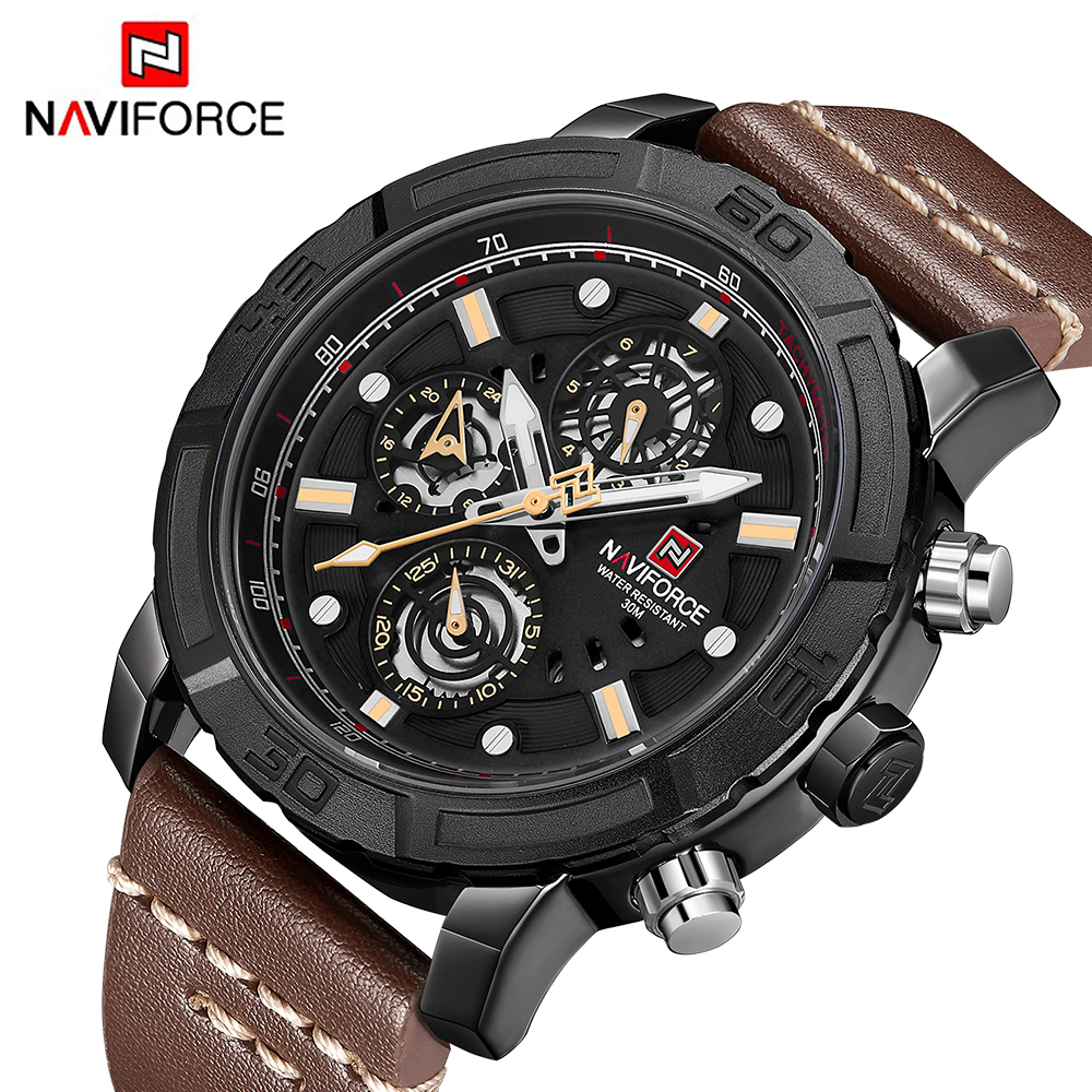 NAVIFORCE Mens Watches Luxury Brand Sport Multifunction Quartz Watch Waterproof Leather Date Week Male Clock Relogio Masculino