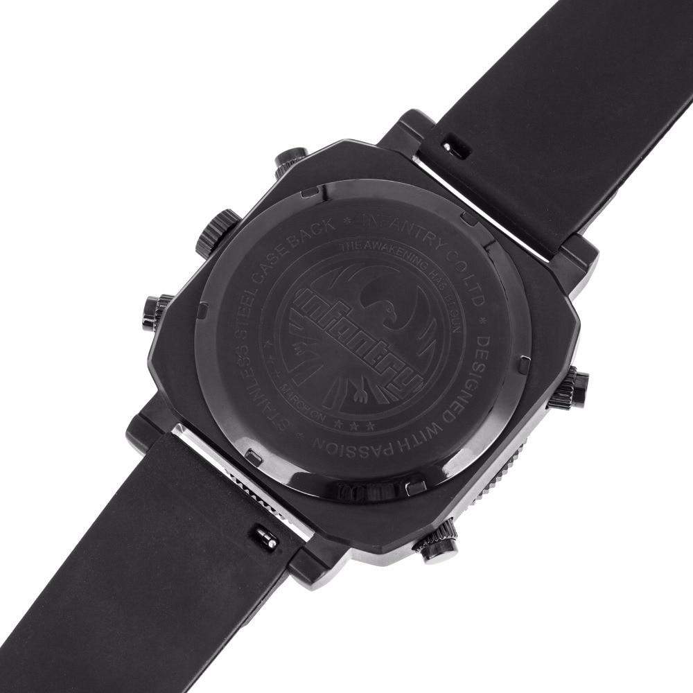 3bf75c0b625 INFANTARIA Mens Relógios Top Marca de Luxo Relógio Analógico Digital Homens  Grande Tático Militar Black Watch Silicone Relogio masculino em Relógios  dupla ...
