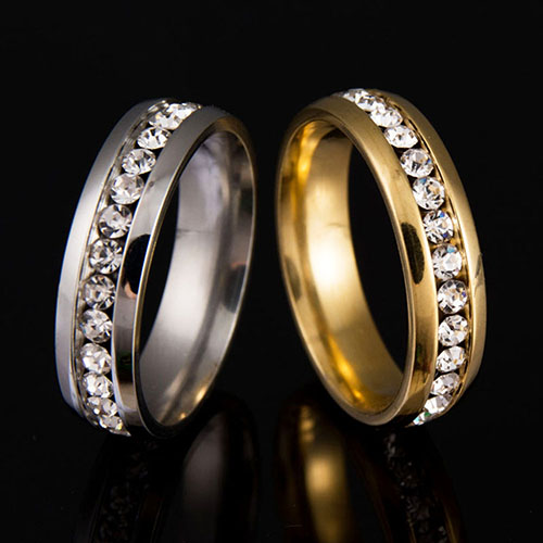 2015 Hot Mens Womens Couple Lover Rhinestone Titanium Steel Engagement Ring Size 6-11