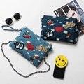 Women's Sequined Chain Messenger Bag New Fashion Heart Shape Envelope Clutches Eye Crown Lipstick Badge Denim Shoulder Bag B130