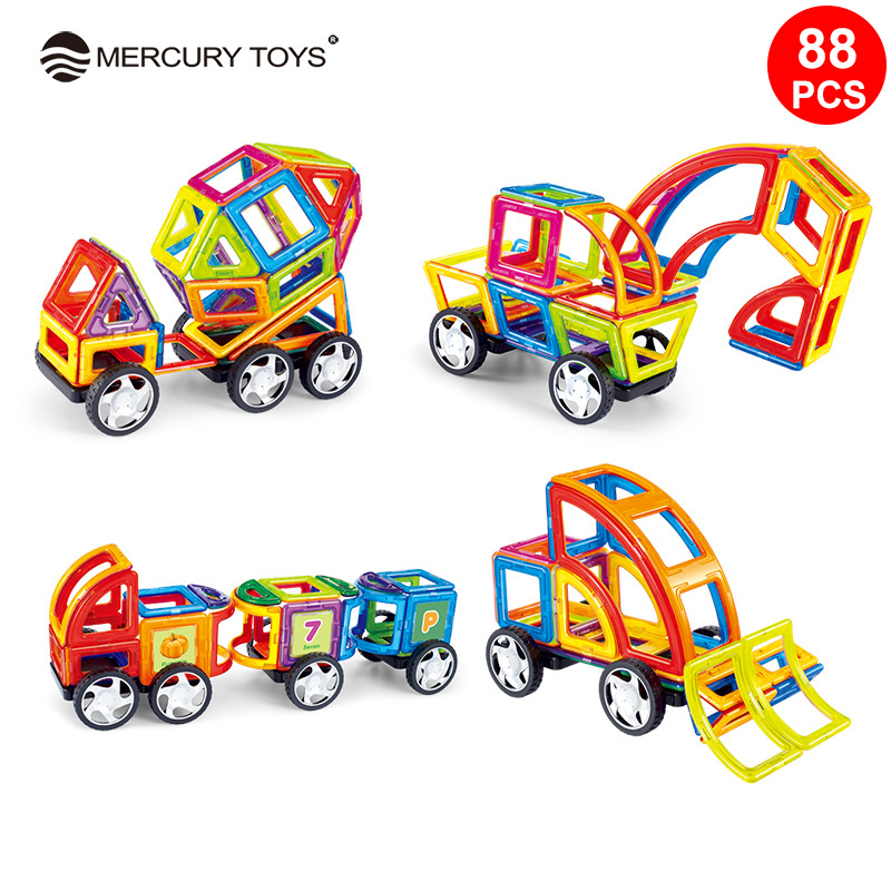 88PCS Standard Size Magnetic construction Blocks 3D Model Building Bricks Children Educational Toys Engineering vehicle цена