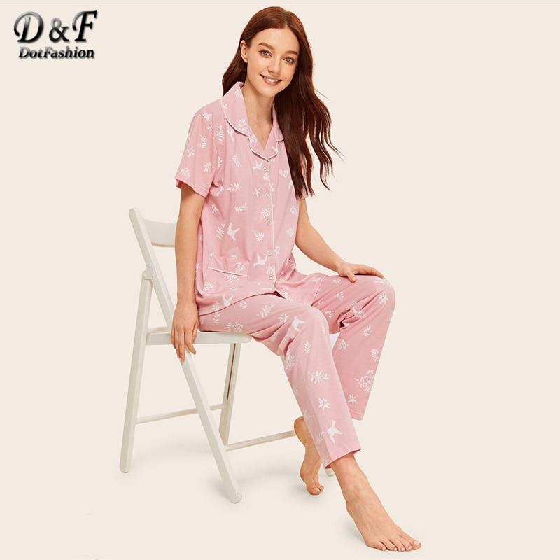Dotfashion Pink Leaf And Bird Print Button-Up   Pajama     Set   2019 Summer   Pajamas   For Women Spring Casual Short Sleeve Loungewear