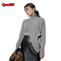 QoerliN Turtleneck Sweater Women Long Sleeve Knitted Black Tops Elastic Gray Pullover Sueter Mujer Fashion Autumn