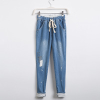 Summer Korean Fan Casual Relaxed Girl Haren Jeans Female Show Thin Elastic Waist Personality With Cloth