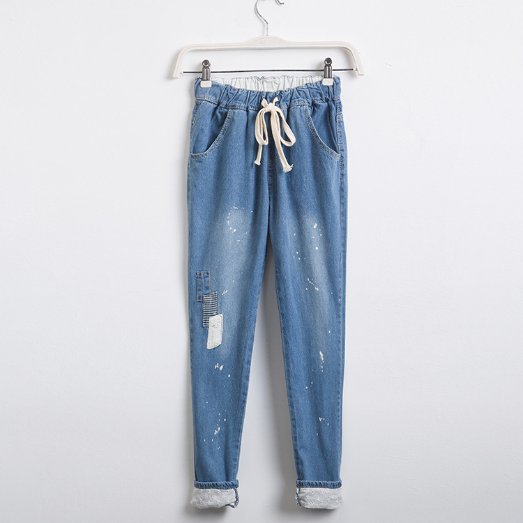 Summer Korean fan casual relaxed girl Haren jeans female show thin elastic waist personality with cloth trousers female