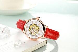 Image 4 - ORKINA montre de luxe pour femmes, horloge mécanique, avec bracelet blanc, boîtier en or, marque de luxe, collier en perles