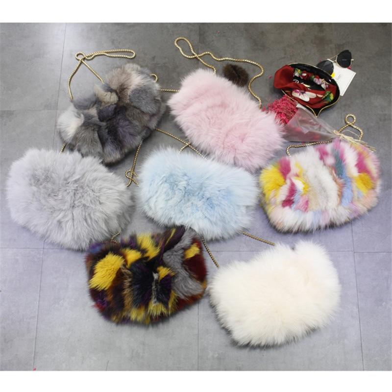 купить New Colorful Real Fur Women Shoulder Bag Fox Fur Causal Clutch Bag Leather Women's Bag Lady Chains Handbag Luxury Evening Purse по цене 2708.34 рублей