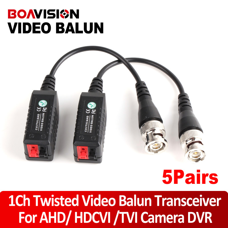 5Pairs BNC CCTV Video Balun Passive Transceivers UTP Balun BNC Cat5 CCTV Support AHD HDCVI TVI Camera Up to 250m-450m Range 1pairs high quality cctv via twisted pairs transmitter hd cvi tvi ahd passive video balun male cable bnc to utp cat5e 6