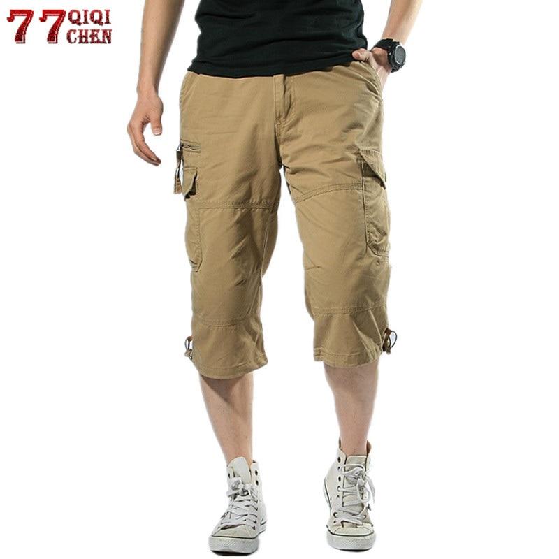 Summer Long Length Cargo Shorts Men Multi Pocket Casual Cotton Elastic Bermudas Male Army Military Short Capri Hot Breeches 5XL