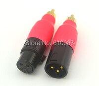 2 pc Frete grátis Hetero RCA Splitter Jack XLR de 3 Pinos fêmea pinos para RCA Plug + Adaptador de Áudio Plugue RCA Macho para XLR conectores