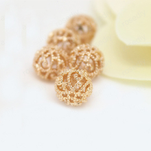 6PCS 10MM 24K Champagne Gold Color Plated Brass Hollow Round Beads Bracelet High Quality Diy Jewelry Accessories