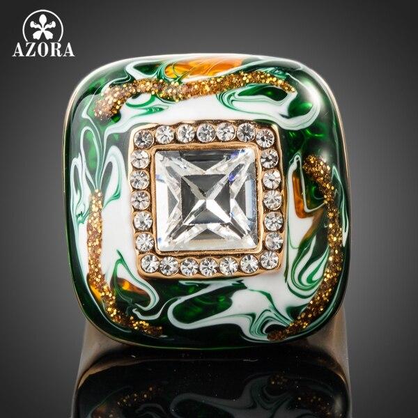 AZORA Gold Color Stellux Austrian Crystal Multicolour Oil