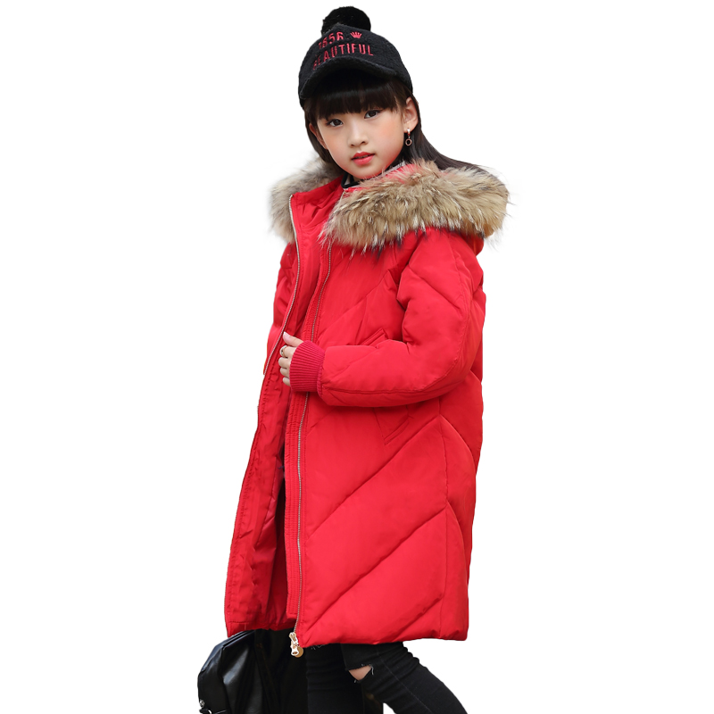 Long Girls Duck Down Coats Russian Winter Thick Warm Children Coats with Fur Hooded Girlls Jackets Kids Outwear for Winter 13 14 fur hooded girls winter coats and jackets outwear warm long down jacket kids girls clothes children parkas baby girls clothing