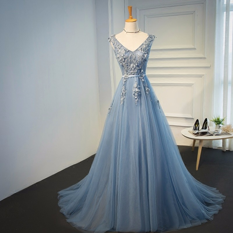 Elie Saab Blue Evening Dresses 2018 Plus Size Tulle Appliques Long Formal Dresses Gowns V Neck Lace Up Sleeveless Robe De Soiree 8