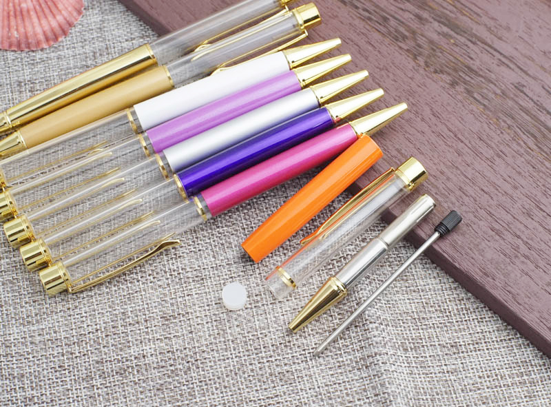 27 colors  for choice Ballpoint no oil  no Gold foil Fill yourself crystal Metal Copper gift pen school offise supplies