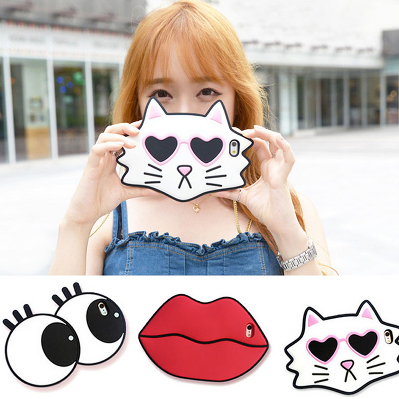 a42b5fc02d4 Dower Me Korea Style Funny Big Eyes Sex Big Lips Mouth Soft Silicone Phone  Case For iPhone X 8 7 6 6S Plus With Shoulder Chain