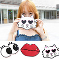 Moda coréia do estilo 3d engraçado big eyes cat sexo big lips mouth silicone macio phone case para iphone 7 6 6 s plus com ombro cadeia