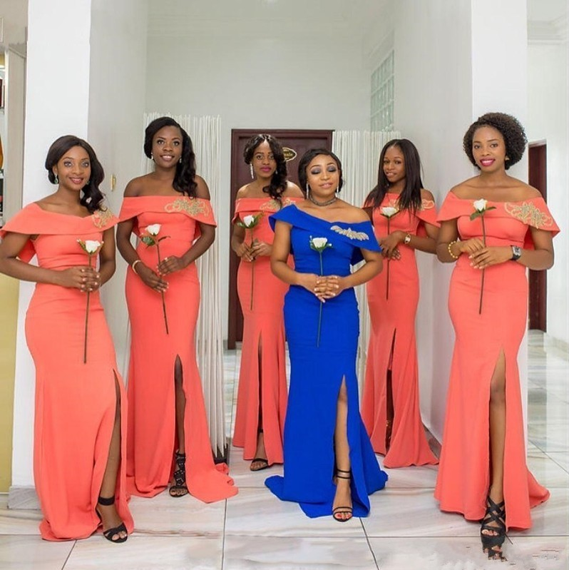 African Off The Shoulder Sexy Slit   Bridesmaid     Dresses   Long 2019 Gold Appliques Prom   Dresses   Maid of Honor Party Guest   Dresses