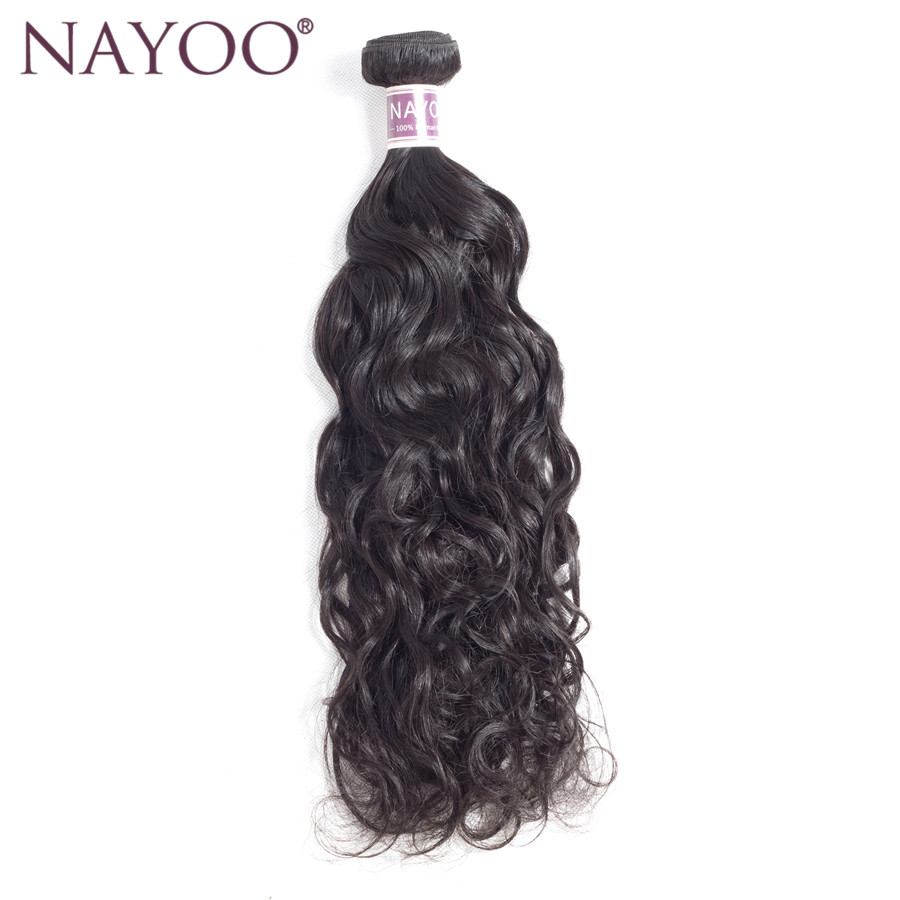 NAYOO Brazilian Water Wave 1 Piece 100% Human Hair Weave Bundles Natural Color Non Remy 8 - 26 Hair Extensions Double Weft