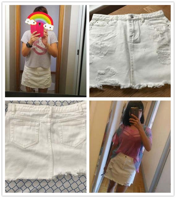 e47da56f9 Dotfashion desgastado Fray Hem falda de mezclilla 2019 nuevo blanco rasgado  Casual mujeres de la parte inferior de la cintura corta falda lisa