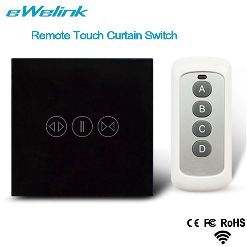eWelink EU Standard Wireless Remote Control Curtain Switches Glass Panel Touch Curtain Switch for Electric Curtain ewelink dooya electric curtain system curtain motor dt52e 45w remote control motorized aluminium curtain rail tracks 1m 6m
