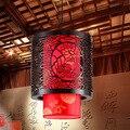 Chinês do vintage de pele de Carneiro de Madeira Esculpir Lanternas Droplight Sala de estar Corredor Vinho Iluminação da Loja Do Partido Luz Da Lâmpada Do Teto