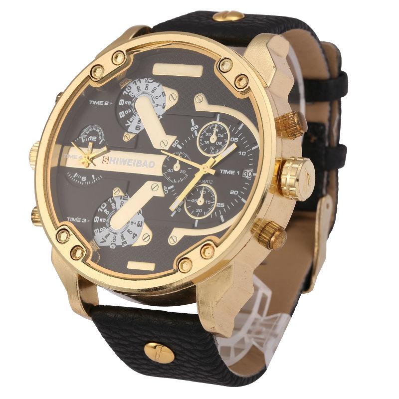 Brand Shiweibao Quartz Watches Men Fashion Watch Leather Strap Golden Case Relogio Masculino Dual Time Zones Military Wristwatch ...
