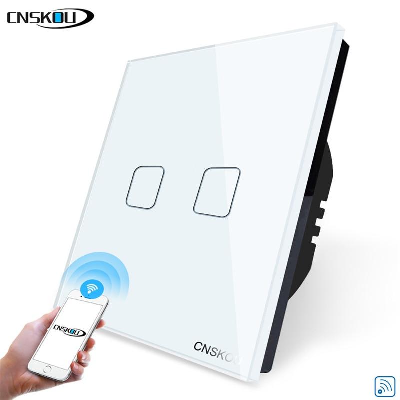 CNSKOU tuya smart home wifi switch 2 Gang 1 Way WiFi Wall Light Touch Switch for Google Home Amazon Alexa APP Control