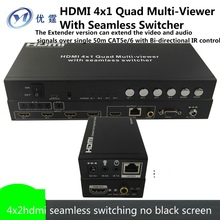 HDMI Quad Multi-Viewer With Seamless Switcher4x2 Four image segmentation extender utp 50M No black screen  4 screen cutter