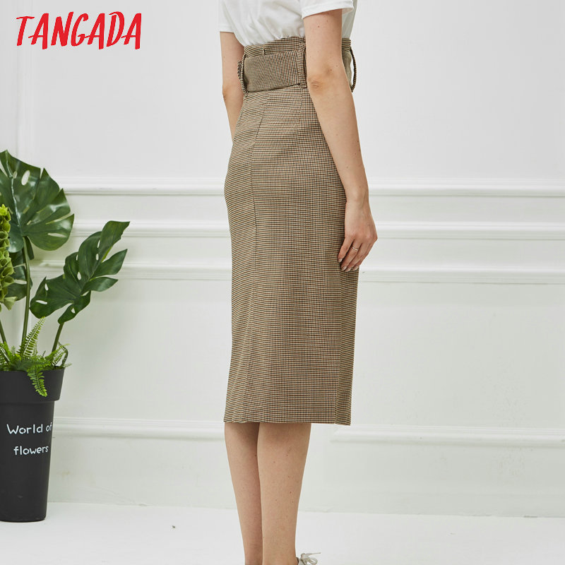 Tangada fashion women plaid skirt vintage work office ladies skirt with belt mujer retro mid calf skirts BE175 9