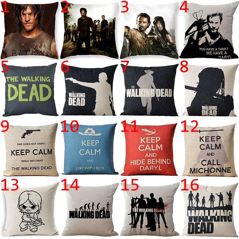 Hyha The Walking Dead Cushion Cover Cotton Linen Movie role Hot Cushion Cover Home Decorative Pillows Cover Fundas Para Cojines