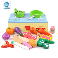 Baby Classic simulation pretend play wooden Kitchen food Cooking toys play miniature kitchen set Cutting fruit and vegetable toy