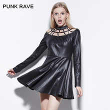Punk Rave Personality Punk O-neck Pullover Cutout Medium Dress Women One-piece Dress PQ-141