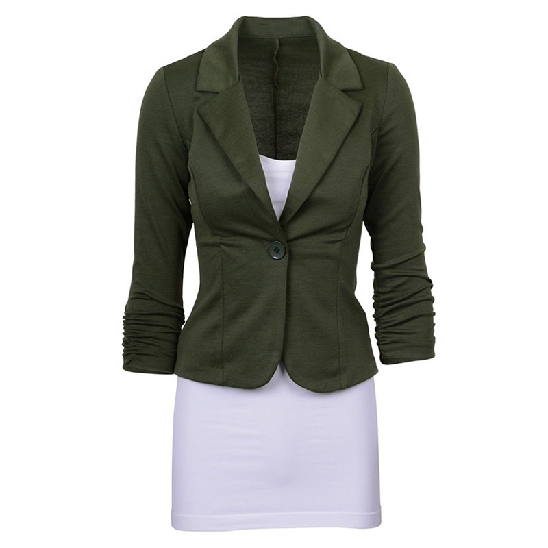 Womens Casual Work Solid Color Knit Blazer Plus Size One button Jacket(Army green,L/US-12~14)