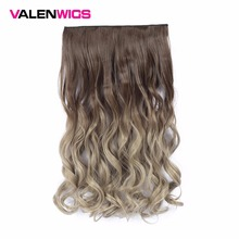 Valenwigs 22 Inches Ombre Wig Clip in Hair Extensions Chocolate Brown Blonde Wavy Style High Tempreture Synthetic Pieces