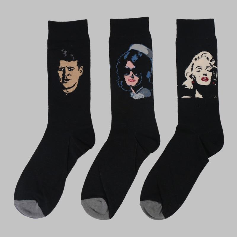 DONG AI Mens Character Cotton Socks Art Female Autumn Winter Retro Patterend Socks Hipster Fashion Funny Crew Socks 3 Pairs